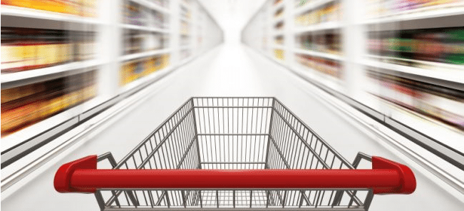 Shopping trolley moving through a supermarket